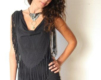 black sexy dress, sleeveless mini dress, black Cocktail Dress, fringes black mini dress, black dress, night out black dress