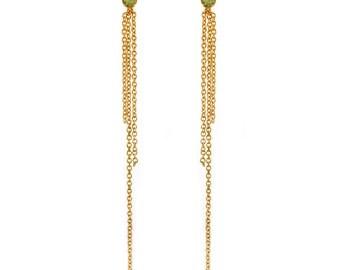 Gemstone Fringe Earrings - Gold Chain Earrings - Delicate Dainty Earrings - Festive Earrings - Bridal Earrings - Birthstone - Peridot