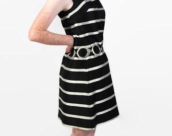 60s Betty Lane Original Shift Dress, Mod, Silver Black Stripe, Party, Mini