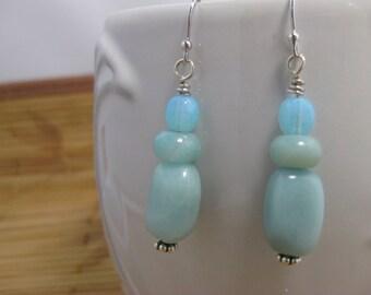 Peruvian blue opal gemstone dangle earrings with sterling silver ear wires