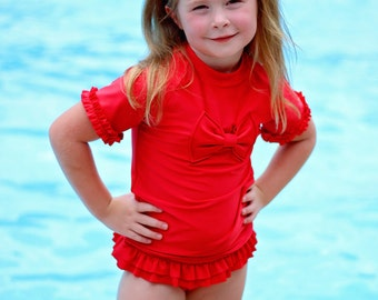 Girls Swimsuit - Two Piece Swimsuit - Red Swimsuit - Girls Bathing Suit - Toddler Swimsuit - Rash Guard Swimsuit - Bow Swimsuit - Swimwear