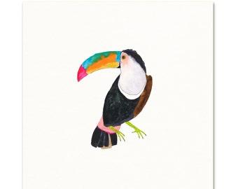 Toucan Watercolor Art Print.  Tropical Bird Decor.