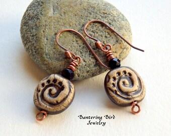 Petroglyph Earrings, Black Ceramic Spiral, Hammered Copper, Unusual Tribal Jewelry