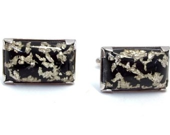 1950s Hickok Lucite Confetti Cuff Links Black Silver Foil Lucite Confetti Gift for Him Vintage Groom Groomsman Accessories Formal DD 1114