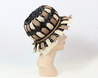 vintage 60s MR. JOHN hat / deadstock 60s designer hat / black woven straw and ribbon hat / mod bubble toque hat / summer hat