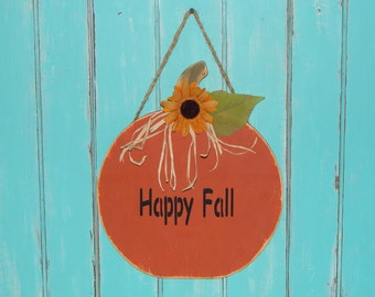 Wood Pumpkin Door Hanger Fall Decor Wall Hanging Porch Decor Happy Fall Sign SALE