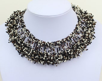 Collar Necklace. Black White Brown Multi Colour Collar Choker. Bib Necklace. Cleopatra Style Ethnic Necklace. DB34 MapenziGems