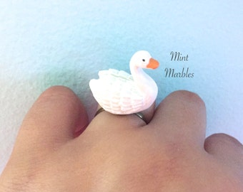 Swan Ring. Adjustable Vintage Style Brass Band. Birds. White Swan. Statement Ring. Resin. Under 20 Gifts. White. Orange. Bird Jewelry.