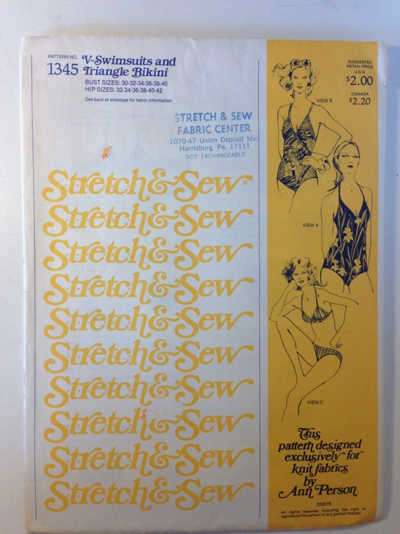 Stretch and Sew Sewing Pattern 1345 70s Missess V-Swimsuits and Triangle Bikinis Bust Size 30-40 Uncut