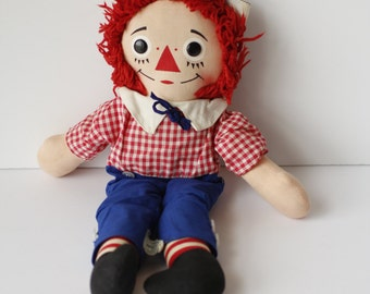 "Vtg 70s Knickerbocker Raggedy Ann ANDY DOLL 14"" Stuffed Cloth Rag"