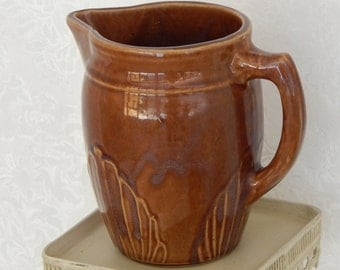 Vintage Pitcher -1940s Signed Monmouth-Kitchen and Dining Tableware - USA Brown Stoneware Pottery