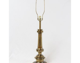 Stiffel Tall Brass Table Lamp Mid Century Hollywood Regency Pull Chain