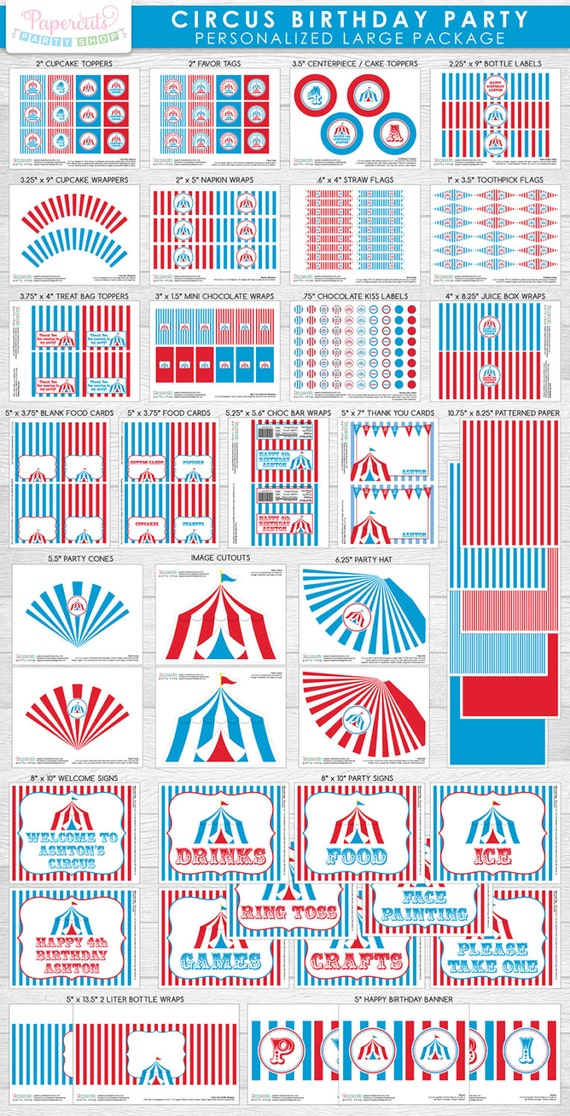 SALE! 20% off! | Circus / Carnival Theme LARGE Birthday Party Package | Blue & Red | Personalized | Printable DIY Digital File