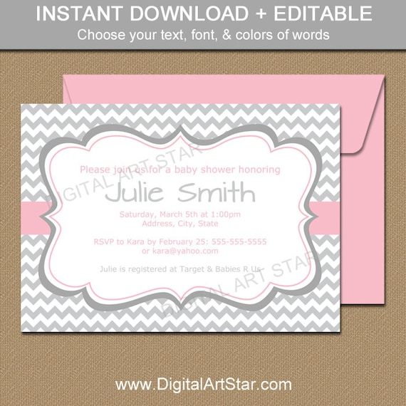 pink and gray chevron baby shower invitations printable baby shower