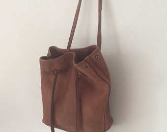 Brown Nubuck leather Charles et Charlus FRANCE tote bag, vintage