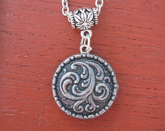 Pewter Button Necklace from Norway Kristen