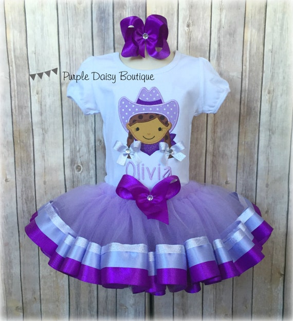 Cowgirl Theme Ribbon Trim Tutu Outfit In Purple Lavender And