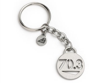 70.3 Triathlon Keychain - Stainless Steel, Gift for Triathletes, Half Ironman, Triathlon Gifts, Triathlon Inspiration 70.3 Gifts