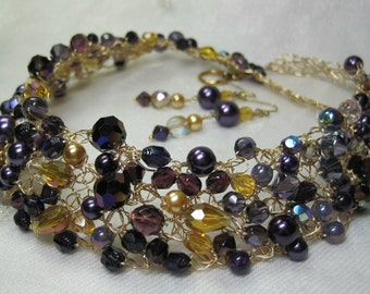 Purple and Gold Crocheted Wire Necklace Set, handmade bead jewelry, bead crochet jewelry