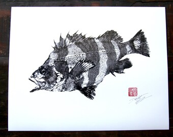 RED BANDED ROCKFISH (Barber Pole Fish)  Gyotaku - traditional Japanese fish art - Discontinued & Discounted