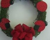 Ladybug Wreath, ladybugs, wreath, grapevine, wall decor, door decor, door hanging, summer decor