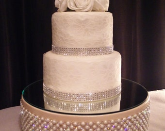 Vintage inspired Pearl & Rhinestone wedding cake stand  Podium stage style  all sizes round and square
