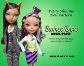 Business Basics doll clothes pattern for Petite Slimline Fashion Doll: Monster High, Ever After High, Dal, Obitsu 23 & similar