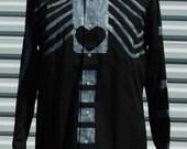 L Mens Dia de Los Muertos Skelton Black  Shirt