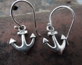 Sterling Silver Anchor Earrings Navy Military Nautical Beach