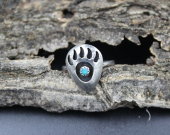 Sterling Silver Ring Band Bear Claw Turquoise Native American Indian Size 6.5 or 6 1/2