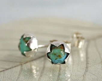 Turquoise Silver Earrings - Flower Bud Studs with Nestled Gemstone