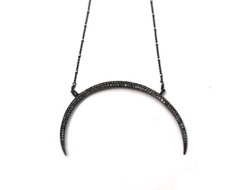 Pave Diamond Double Horn Necklace. Pave Diamond Large Crescent Moon. Black Diamond Double Horn Necklace.  NM-2187