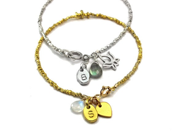 Personalized bracelet. Birthstone and initial bracelet. Custom Charm bracelet. Pure Silver or Vermeil B-1930-4