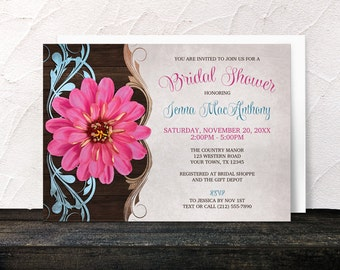 Country Pink Zinnia Bridal Shower Invitations