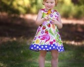 Strawberry Serenade Bright Birds Butterfly Heart - Handmade Infant Dress - Baby Dress - Girls Dress - Spring Girls Dress -  3M to 4T