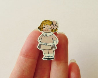 Dolly Dingle Illustrated  Brooch - Shrink Plastic Pin