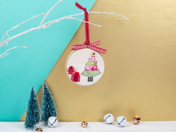 Christmas tree bauble handmade christmas ornament embroidery hoop