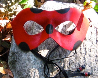 Leather Ladybug Mask, Miraculous Red and Black Adult Sized Cosplay Mask - MADE TO ORDER