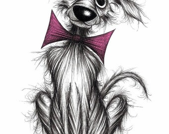 Mr Dog Print A4 size art picture Friendly cute face doggie pooch pup hound in trendy bow tie Pet lovers gift idea Drawing printed on paper
