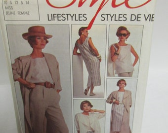 Style 4600  Misses' Unlined Coat or Jacket, Back Buttoning Dress, Top, Trousers, Sizes 10 to 14, Uncut, Factory Fold, 12 Pattern Pieces