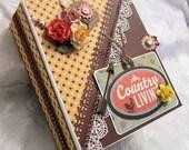 Handmade Chipboard Scrapbook Mini Album Country Livin'