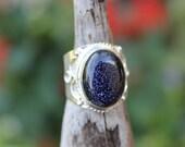 Reiki Attuned Blue Goldstone Silver Ring Size 6.5 Adjustable