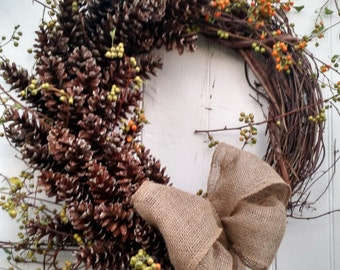 Large Pinecone and Bittersweet Wreath with Burlap Bow
