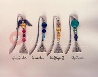 Hogwarts Houses metal bookmark with swarovski stones - Unique pieces