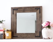 Rustic Wall Mirror - Small Wall Mirror - 18 x 18 Mirror - Rustic Mirror - Reclaimed Wood Mirror - Decorative Mirror - Farmhouse
