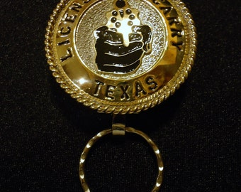 Handmade State of Texas Open Carry Handgun License Keychain with a Hand-held Revolver