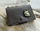 Travel Diary Blank Page Notebook Earthy Brown Recycled Leather Pixie Pocket Book with Rainforest Jasper