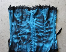 Blue hand painted skeleton corset size 36 Medium Dia De Los Muertos / Day Of The Dead Costume / sexy /  corset medium