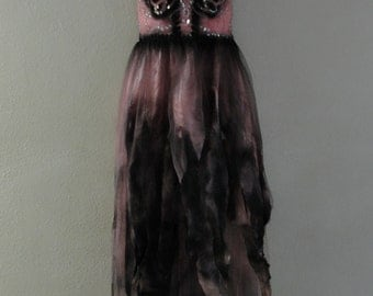 Day of the dead Dia De Los Muertos costume  gown labeled size 11 / 12 small pink shredded skeleton