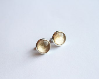Goldmine Shimmer Earrings - Shimmery Champagne Gold - Posts/Studs - Bubbles Collection You Pick Size L, M, S (B25)